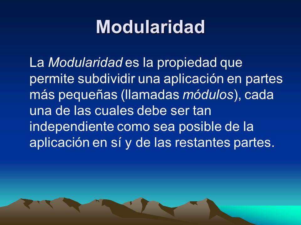 Modularidad La Modularidad es la propiedad que permite subdividir una aplicación en partes más pequeñas (llamadas módulos), cada una de las cuales deb