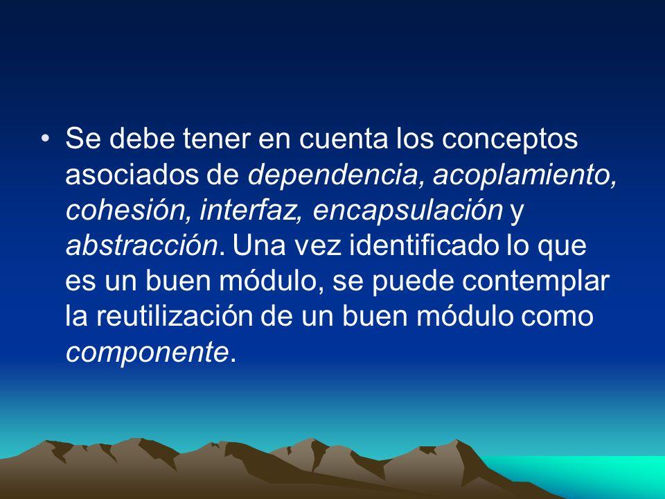 Se debe tener en cuenta los conceptos asociados de dependencia, acoplamiento, cohesión, interfaz, encapsulación y abstracción. Una vez identificado lo