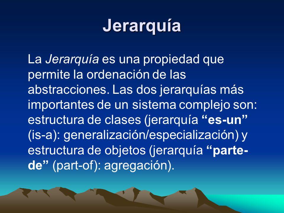 Jerarquía La Jerarquía es una propiedad que permite la ordenación de las abstracciones. Las dos jerarquías más importantes de un sistema complejo son: