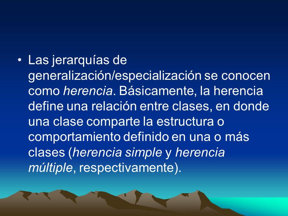 Las jerarquías de generalización/especialización se conocen como herencia. Básicamente, la herencia define una relación entre clases, en donde una cla