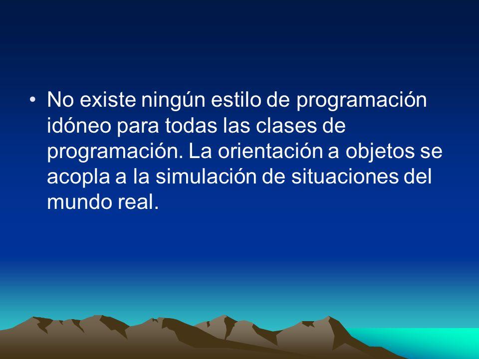 No existe ningún estilo de programación idóneo para todas las clases de programación. La orientación a objetos se acopla a la simulación de situacione