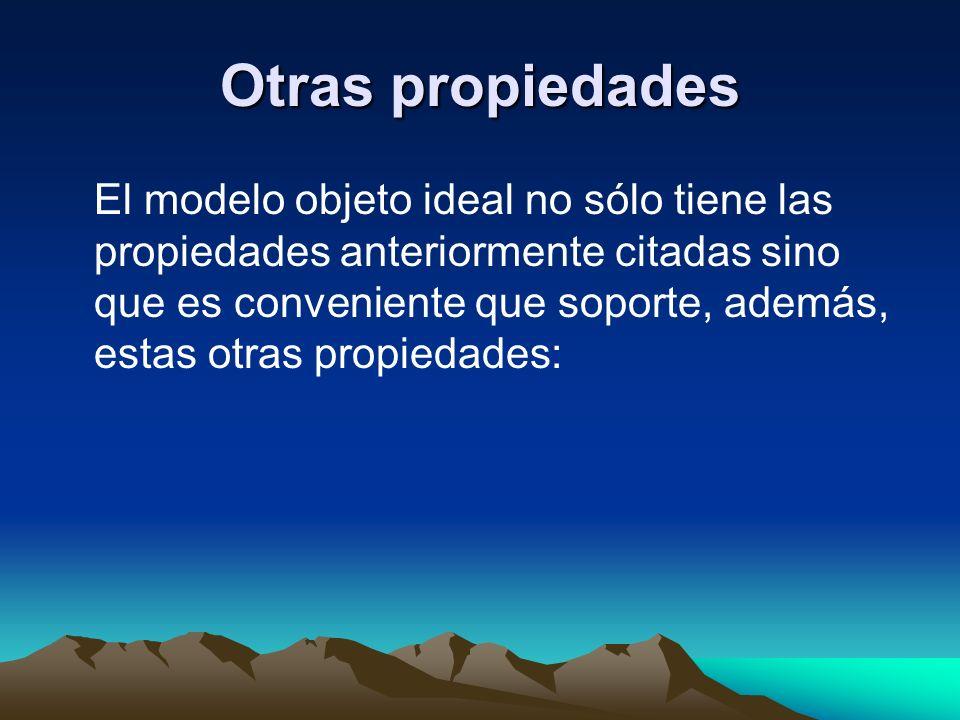 Otras propiedades El modelo objeto ideal no sólo tiene las propiedades anteriormente citadas sino que es conveniente que soporte, además, estas otras
