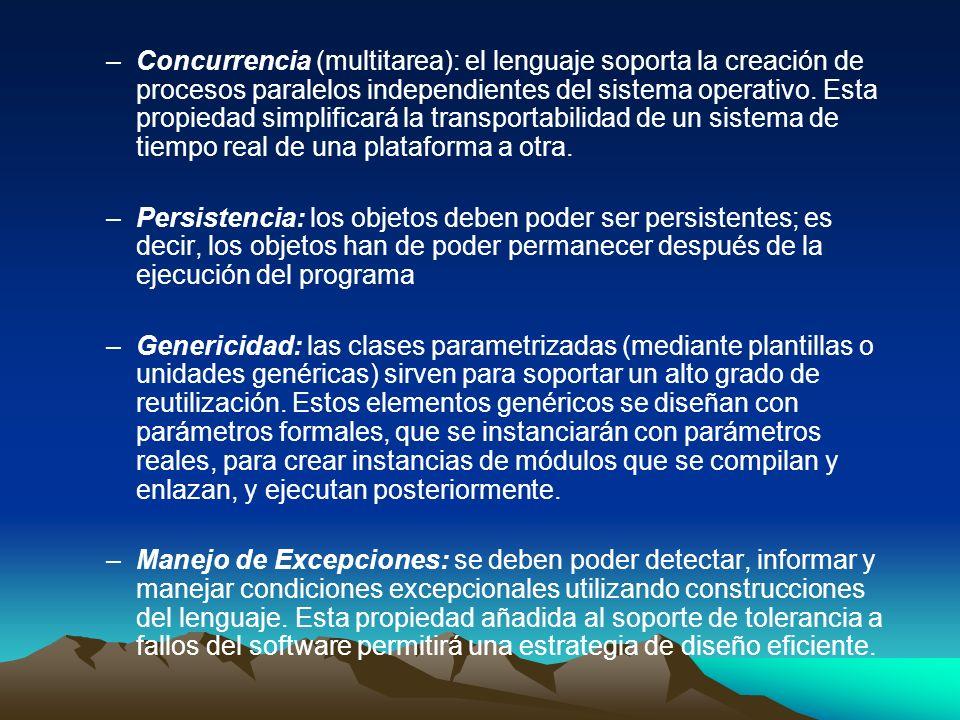 –Concurrencia (multitarea): el lenguaje soporta la creación de procesos paralelos independientes del sistema operativo. Esta propiedad simplificará la