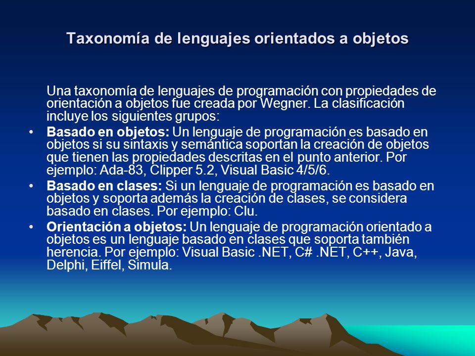 Taxonomía de lenguajes orientados a objetos Una taxonomía de lenguajes de programación con propiedades de orientación a objetos fue creada por Wegner.
