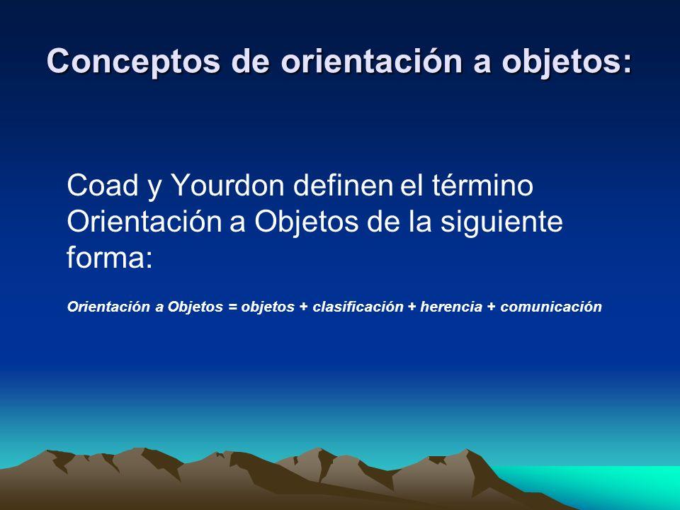 Conceptos de orientación a objetos: Coad y Yourdon definen el término Orientación a Objetos de la siguiente forma: Orientación a Objetos = objetos + c