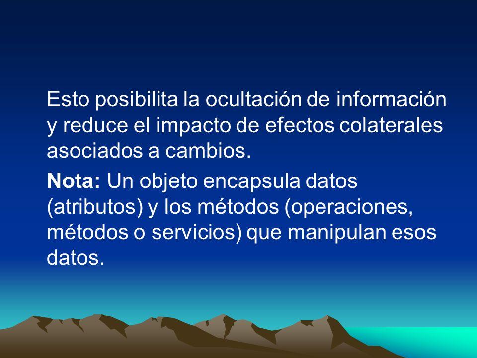 Esto posibilita la ocultación de información y reduce el impacto de efectos colaterales asociados a cambios. Nota: Un objeto encapsula datos (atributo