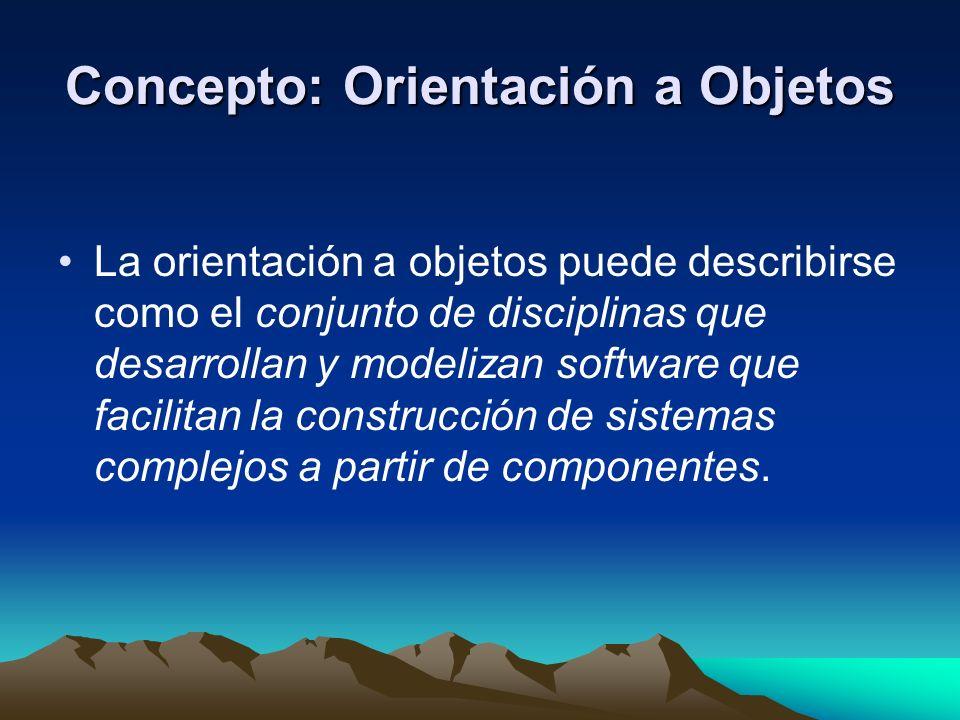 Concepto: Orientación a Objetos La orientación a objetos puede describirse como el conjunto de disciplinas que desarrollan y modelizan software que fa