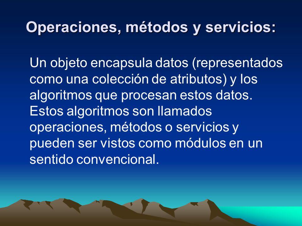 Operaciones, métodos y servicios: Un objeto encapsula datos (representados como una colección de atributos) y los algoritmos que procesan estos datos.