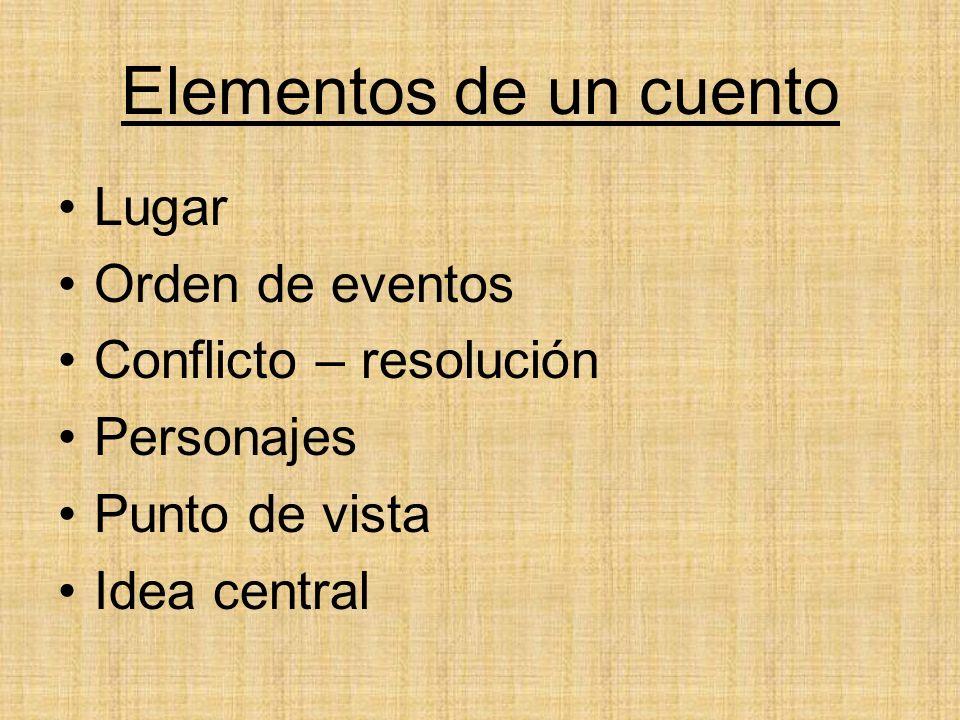 Elementos de un cuento Lugar Orden de eventos Conflicto – resolución Personajes Punto de vista Idea central