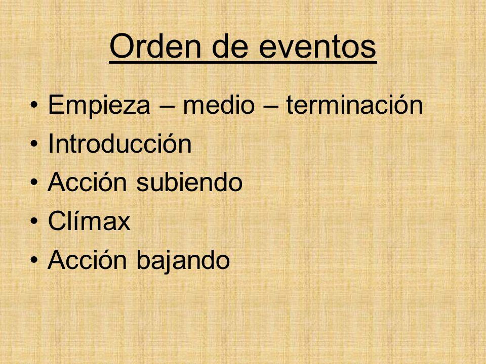 Orden de eventos Empieza – medio – terminación Introducción Acción subiendo Clímax Acción bajando