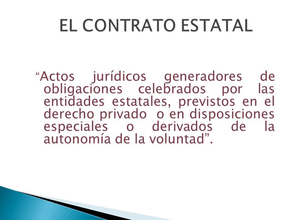 Actos jurídicos generadores de obligaciones celebrados por las entidades estatales, previstos en el derecho privado o en disposiciones especiales o de