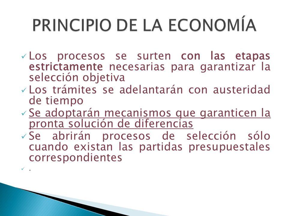 Los procesos se surten con las etapas estrictamente necesarias para garantizar la selección objetiva Los trámites se adelantarán con austeridad de tie