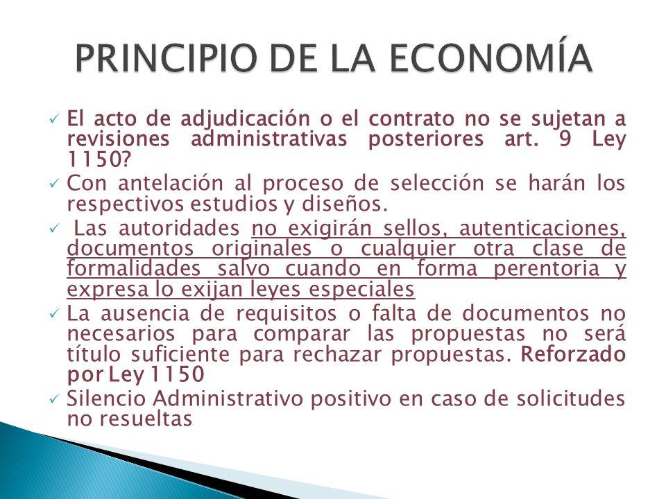 El acto de adjudicación o el contrato no se sujetan a revisiones administrativas posteriores art. 9 Ley 1150? Con antelación al proceso de selección s