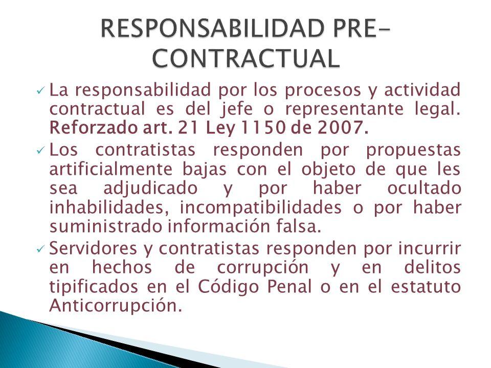 La responsabilidad por los procesos y actividad contractual es del jefe o representante legal. Reforzado art. 21 Ley 1150 de 2007. Los contratistas re