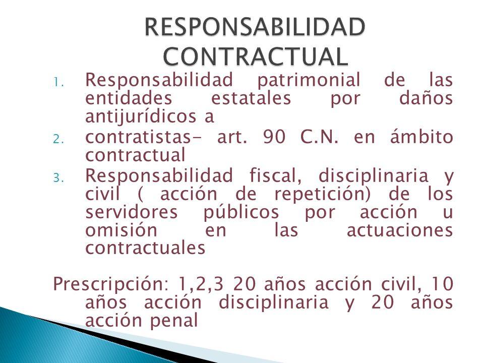1. Responsabilidad patrimonial de las entidades estatales por daños antijurídicos a 2. contratistas- art. 90 C.N. en ámbito contractual 3. Responsabil