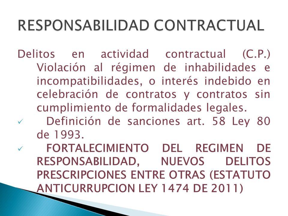 Delitos en actividad contractual (C.P.) Violación al régimen de inhabilidades e incompatibilidades, o interés indebido en celebración de contratos y c