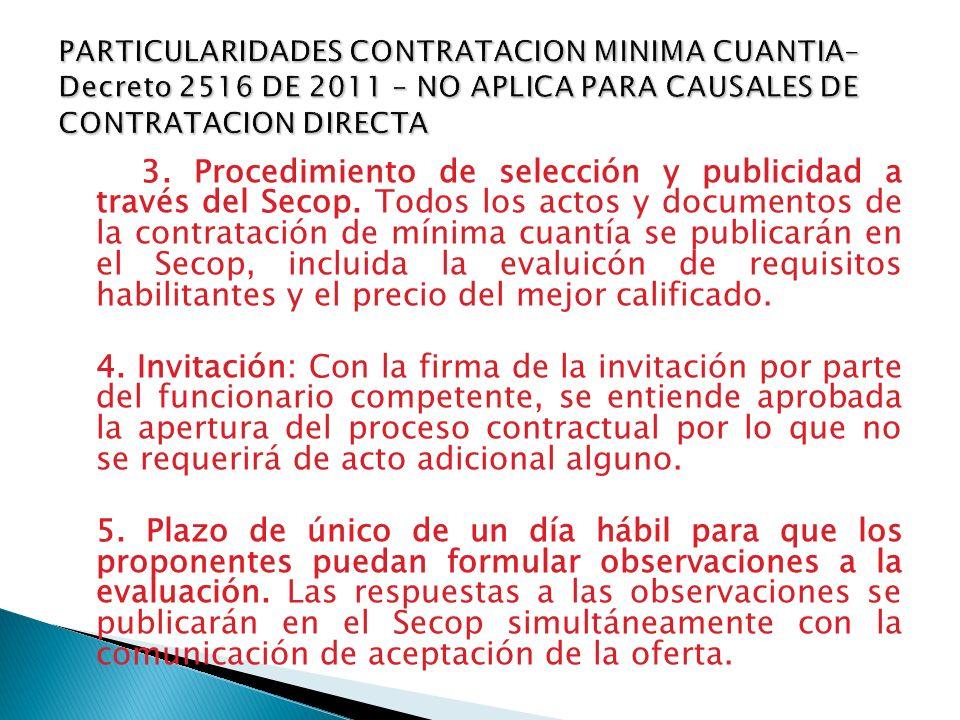 3. Procedimiento de selección y publicidad a través del Secop. Todos los actos y documentos de la contratación de mínima cuantía se publicarán en el S