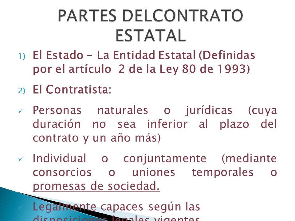 1) El Estado - La Entidad Estatal (Definidas por el artículo 2 de la Ley 80 de 1993) 2) El Contratista: Personas naturales o jurídicas (cuya duración