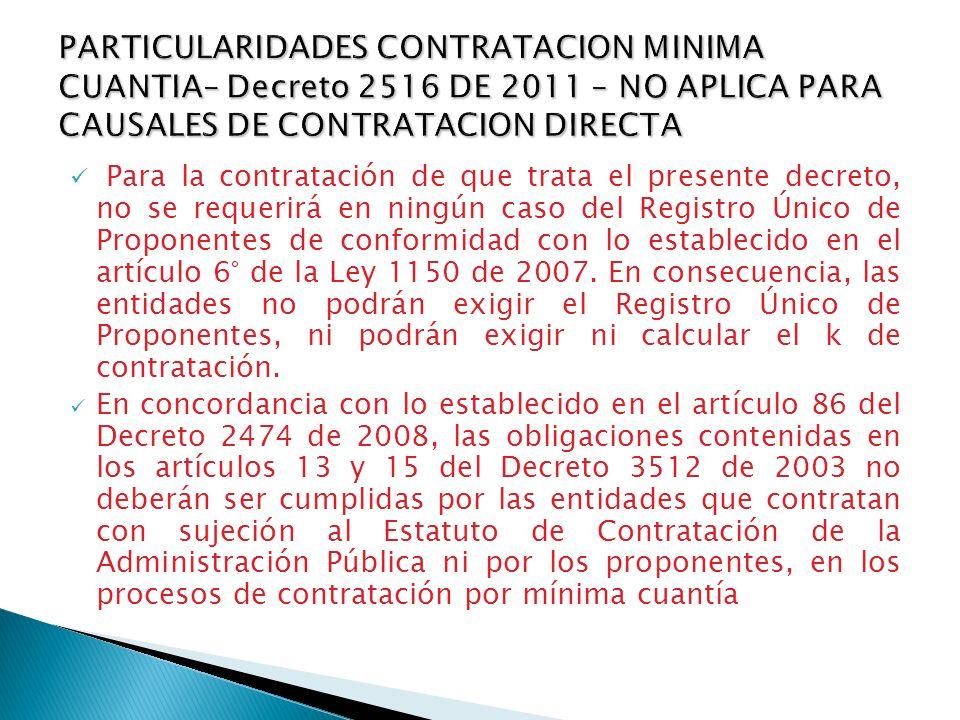 En concordancia con lo establecido en el artículo 86 del Decreto 2474 de 2008, las obligaciones contenidas en los artículos 13 y 15 del Decreto 3512 d