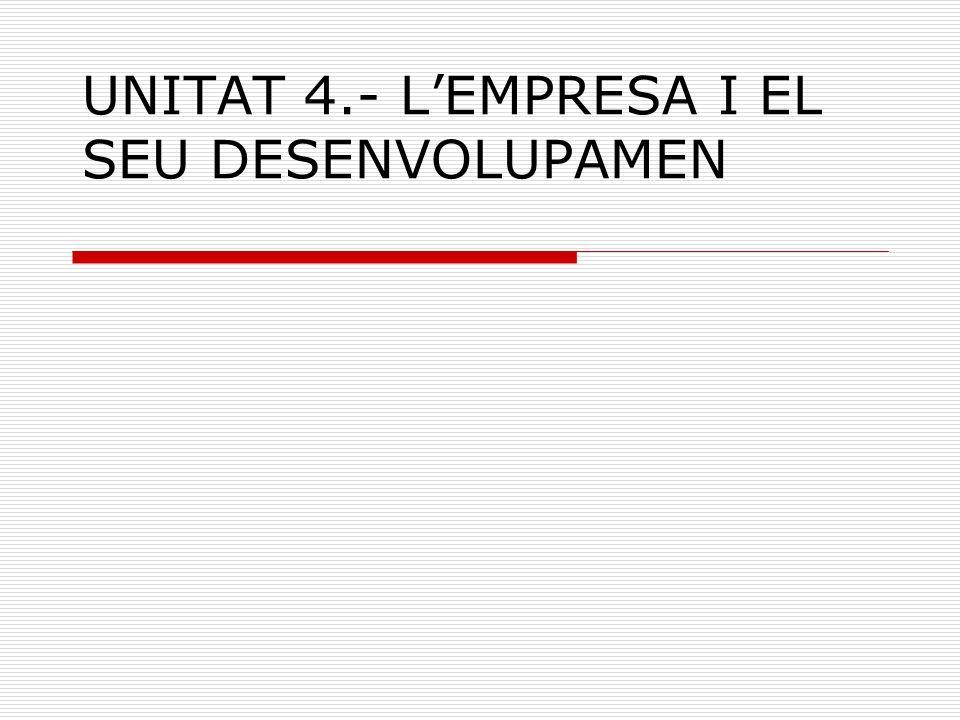 UNITAT 4.- LEMPRESA I EL SEU DESENVOLUPAMEN