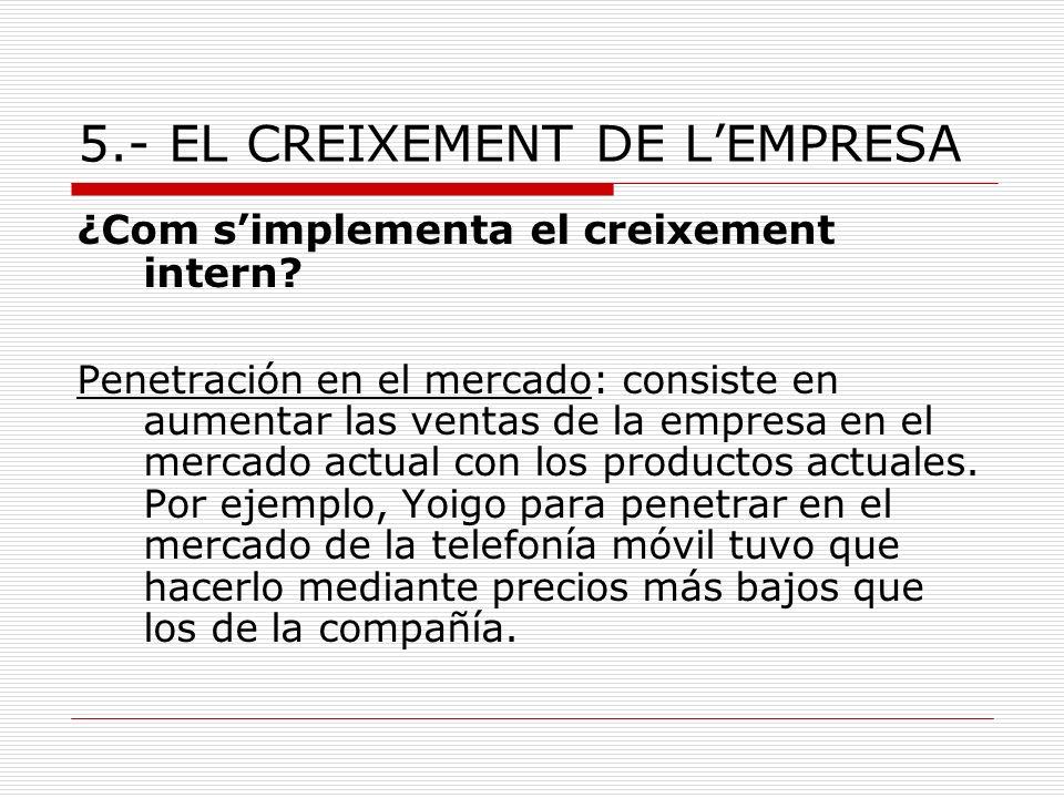 5.- EL CREIXEMENT DE LEMPRESA ¿Com simplementa el creixement intern? Penetración en el mercado: consiste en aumentar las ventas de la empresa en el me