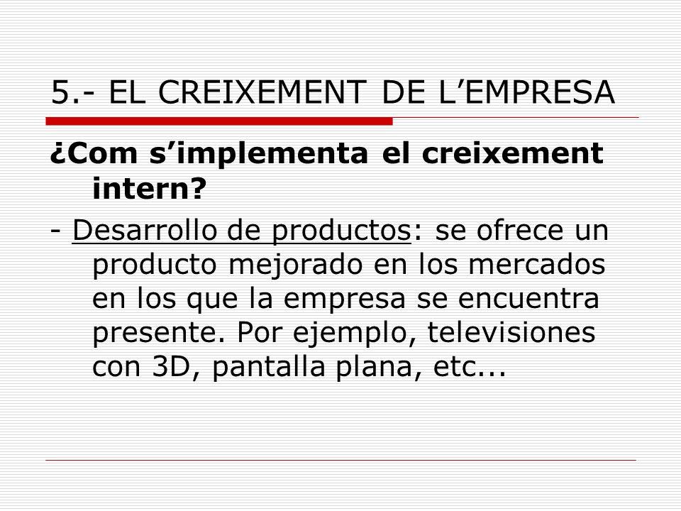 5.- EL CREIXEMENT DE LEMPRESA ¿Com simplementa el creixement intern? - Desarrollo de productos: se ofrece un producto mejorado en los mercados en los