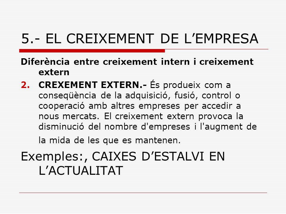 5.- EL CREIXEMENT DE LEMPRESA Diferència entre creixement intern i creixement extern 2.CREXEMENT EXTERN.- És produeix com a conseqüència de la adquisi