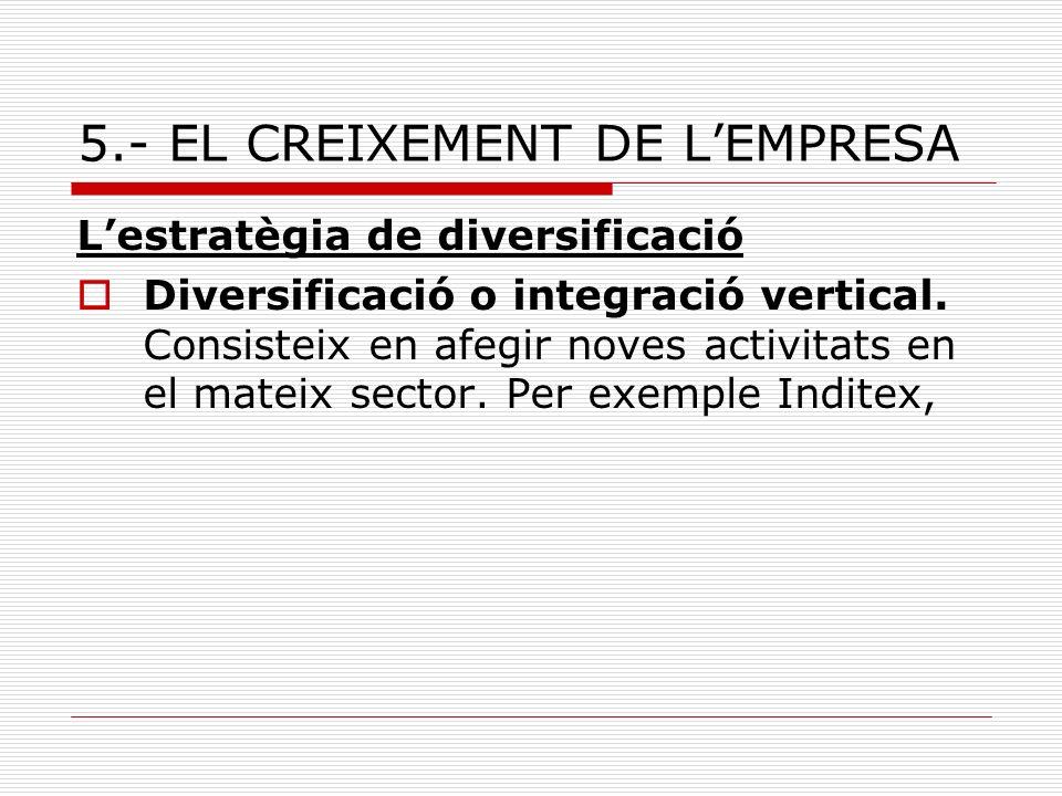 5.- EL CREIXEMENT DE LEMPRESA Lestratègia de diversificació Diversificació o integració vertical. Consisteix en afegir noves activitats en el mateix s