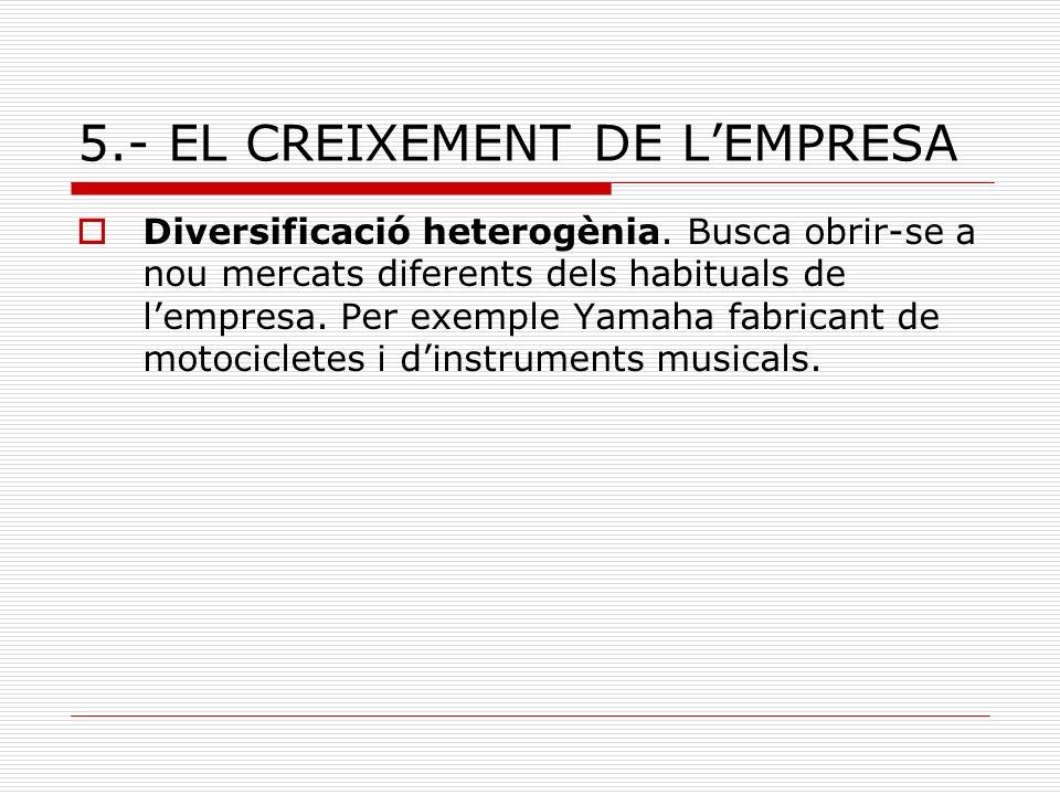 5.- EL CREIXEMENT DE LEMPRESA Diversificació heterogènia. Busca obrir-se a nou mercats diferents dels habituals de lempresa. Per exemple Yamaha fabric