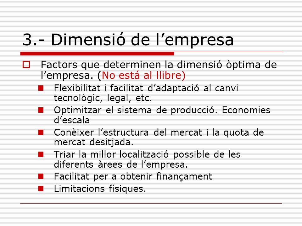 3.- Dimensió de lempresa Factors que determinen la dimensió òptima de lempresa. (No está al llibre) Flexibilitat i facilitat dadaptació al canvi tecno