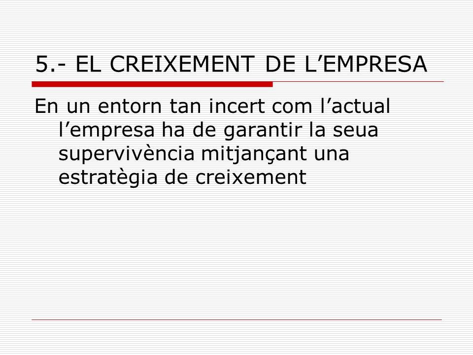 5.- EL CREIXEMENT DE LEMPRESA En un entorn tan incert com lactual lempresa ha de garantir la seua supervivència mitjançant una estratègia de creixemen