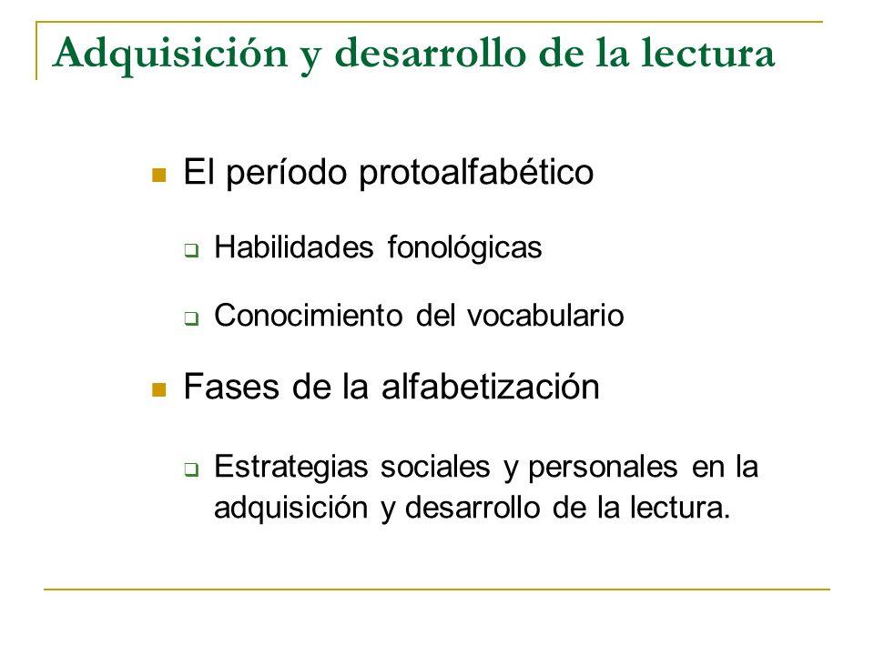 Adquisición y desarrollo de la lectura El período protoalfabético Habilidades fonológicas Conocimiento del vocabulario Fases de la alfabetización Estr