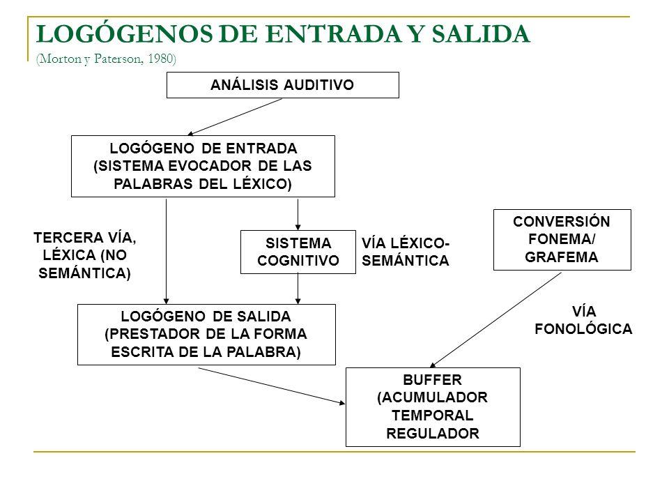 LOGÓGENOS DE ENTRADA Y SALIDA (Morton y Paterson, 1980) ANÁLISIS AUDITIVO LOGÓGENO DE ENTRADA (SISTEMA EVOCADOR DE LAS PALABRAS DEL LÉXICO) SISTEMA CO
