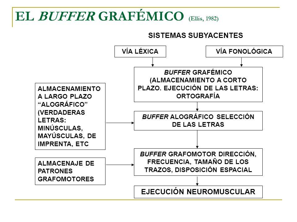 EL BUFFER GRAFÉMICO (Ellis, 1982) SISTEMAS SUBYACENTES VÍA LÉXICAVÍA FONOLÓGICA BUFFER GRAFÉMICO (ALMACENAMIENTO A CORTO PLAZO. EJECUCIÓN DE LAS LETRA