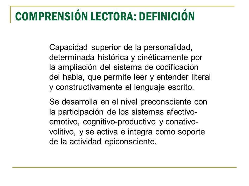 Capacidad superior de la personalidad, determinada histórica y cinéticamente por la ampliación del sistema de codificación del habla, que permite leer