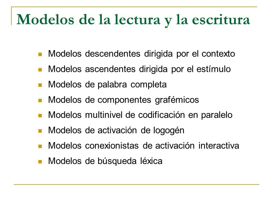 Modelos de la lectura y la escritura Modelos descendentes dirigida por el contexto Modelos ascendentes dirigida por el estímulo Modelos de palabra com