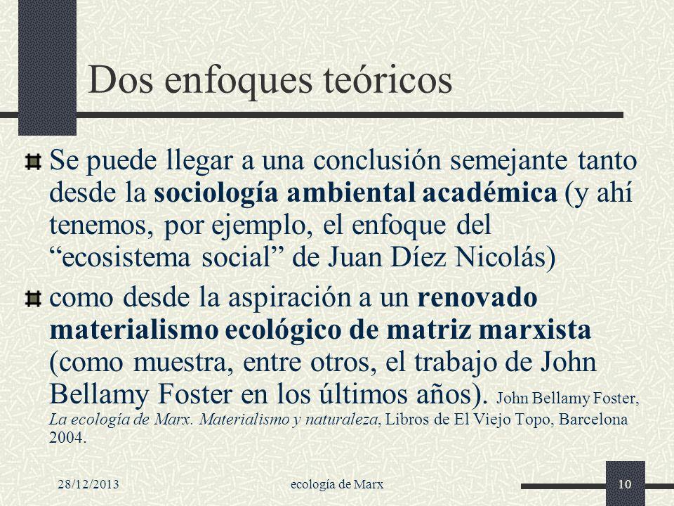 28/12/2013ecología de Marx10 Dos enfoques teóricos Se puede llegar a una conclusión semejante tanto desde la sociología ambiental académica (y ahí ten
