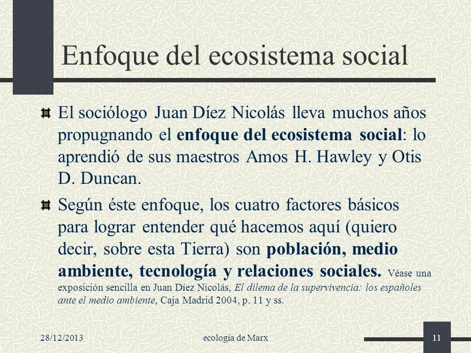 28/12/2013ecología de Marx11 Enfoque del ecosistema social El sociólogo Juan Díez Nicolás lleva muchos años propugnando el enfoque del ecosistema soci