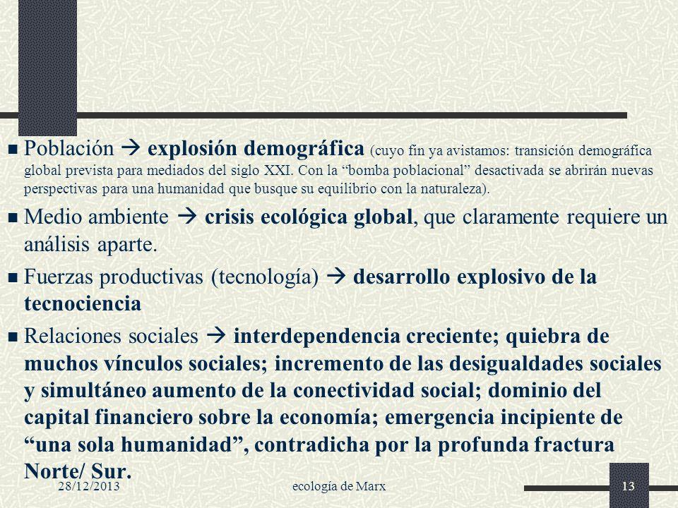 28/12/2013ecología de Marx13 Población explosión demográfica (cuyo fin ya avistamos: transición demográfica global prevista para mediados del siglo XX