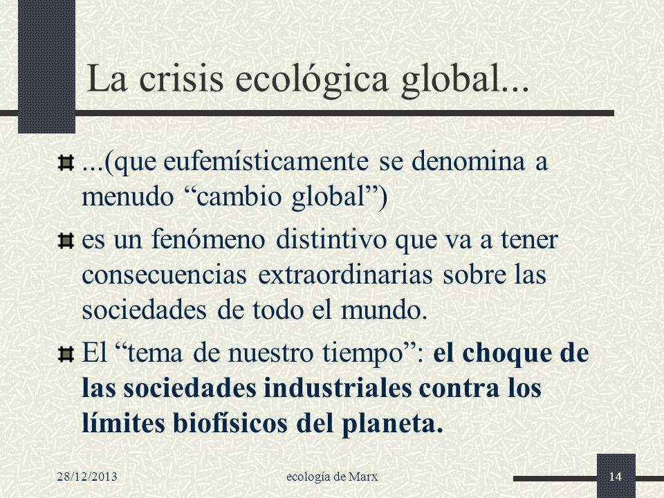 28/12/2013ecología de Marx14 La crisis ecológica global......(que eufemísticamente se denomina a menudo cambio global) es un fenómeno distintivo que v