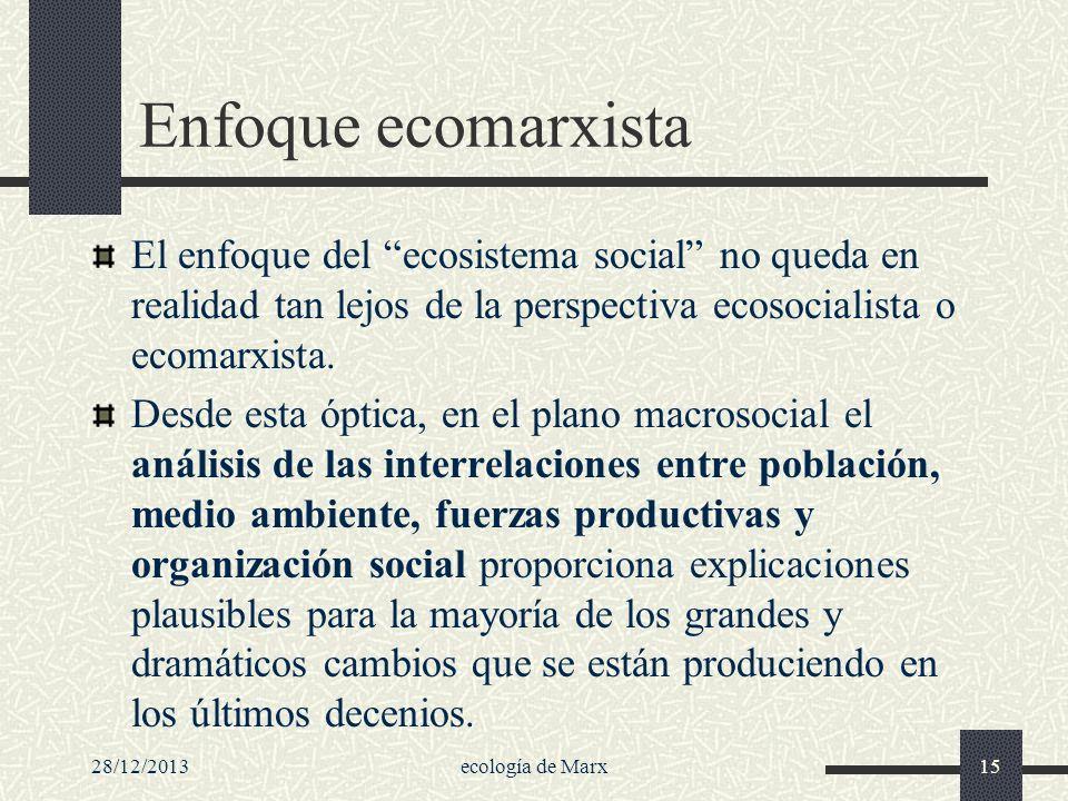 28/12/2013ecología de Marx15 Enfoque ecomarxista El enfoque del ecosistema social no queda en realidad tan lejos de la perspectiva ecosocialista o eco
