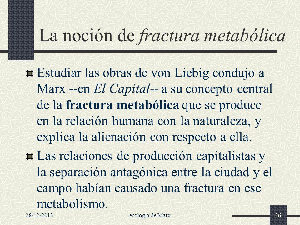 28/12/2013ecología de Marx36 La noción de fractura metabólica Estudiar las obras de von Liebig condujo a Marx --en El Capital-- a su concepto central