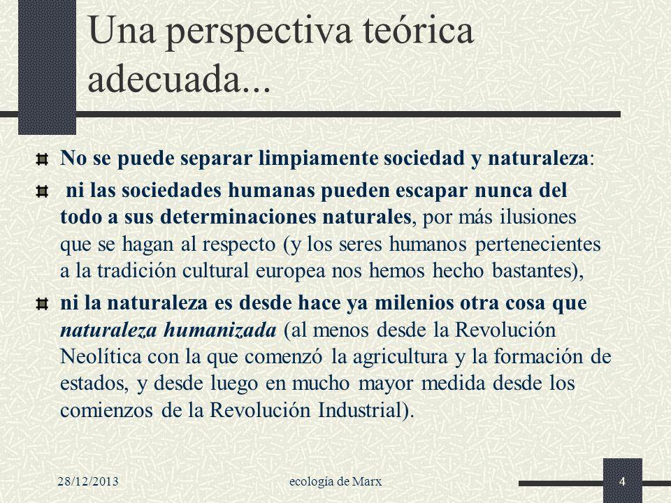 28/12/2013ecología de Marx4 Una perspectiva teórica adecuada... No se puede separar limpiamente sociedad y naturaleza: ni las sociedades humanas puede