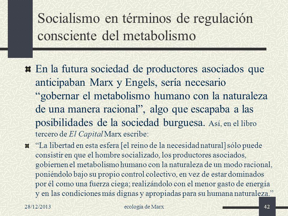 28/12/2013ecología de Marx42 Socialismo en términos de regulación consciente del metabolismo En la futura sociedad de productores asociados que antici