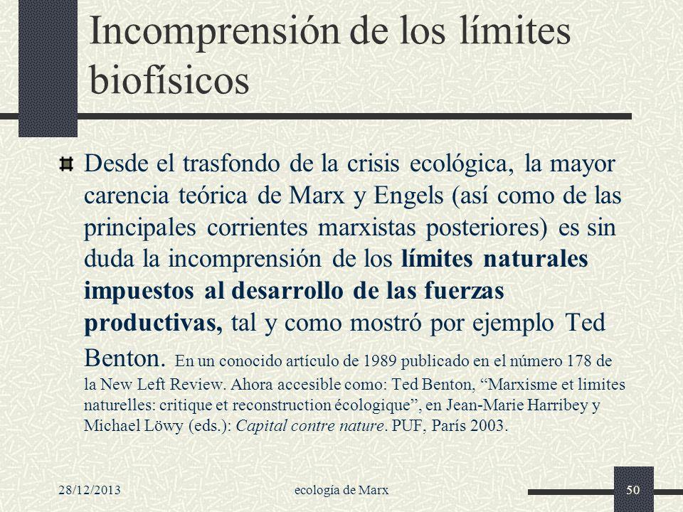 28/12/2013ecología de Marx50 Incomprensión de los límites biofísicos Desde el trasfondo de la crisis ecológica, la mayor carencia teórica de Marx y En