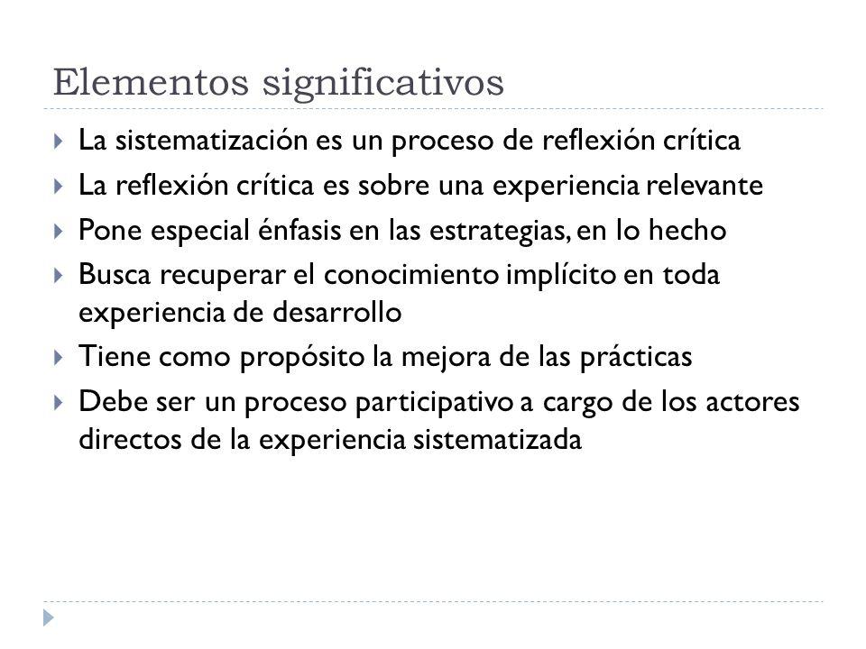 Elementos significativos La sistematización es un proceso de reflexión crítica La reflexión crítica es sobre una experiencia relevante Pone especial é