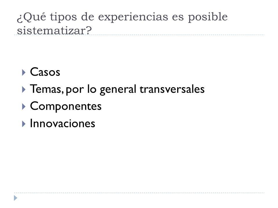 ¿Qué tipos de experiencias es posible sistematizar? Casos Temas, por lo general transversales Componentes Innovaciones