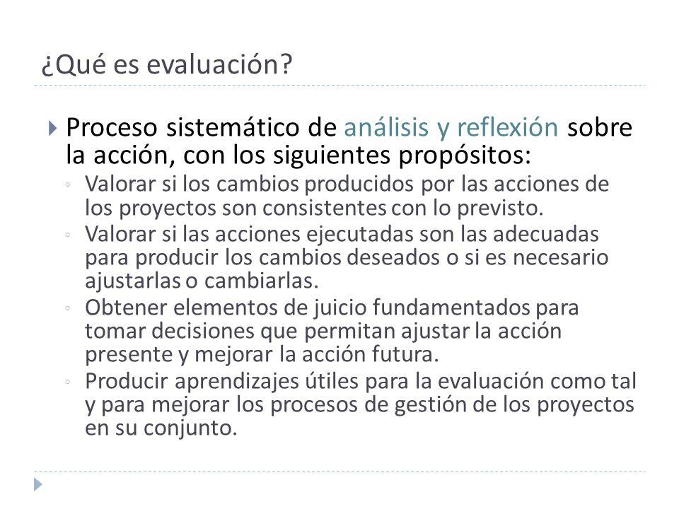 ¿Qué es evaluación? Proceso sistemático de análisis y reflexión sobre la acción, con los siguientes propósitos: Valorar si los cambios producidos por