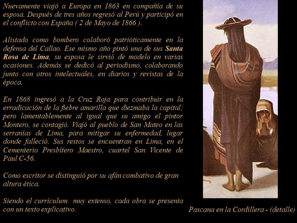 Después de la exposición de París de 1855 regresó a Lima, viajó a Arequipa donde por encargo del Obispo José Sebastián de Goyeneche y Barreda (1784-18
