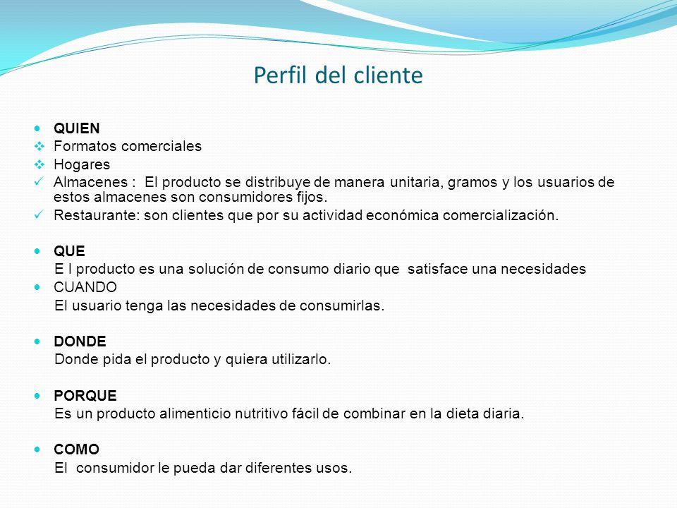 Perfil del cliente QUIEN Formatos comerciales Hogares Almacenes : El producto se distribuye de manera unitaria, gramos y los usuarios de estos almacen